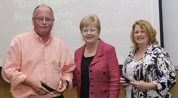outstanding professional award winners Tim Dillard and Rita Doughty pictured with Dr. Judy Bonner