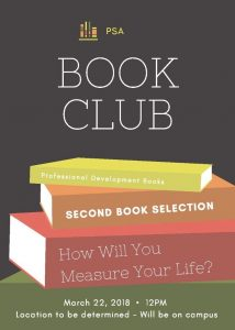 PSA Book Club - How Will You Measure Your Life? @ C.M. Newton Room 204 | Tuscaloosa | Alabama | United States